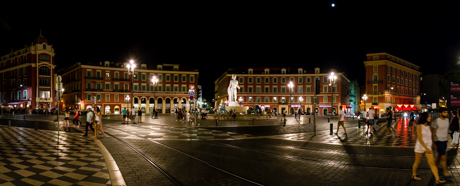 Piazza Massena by night, Nice, France