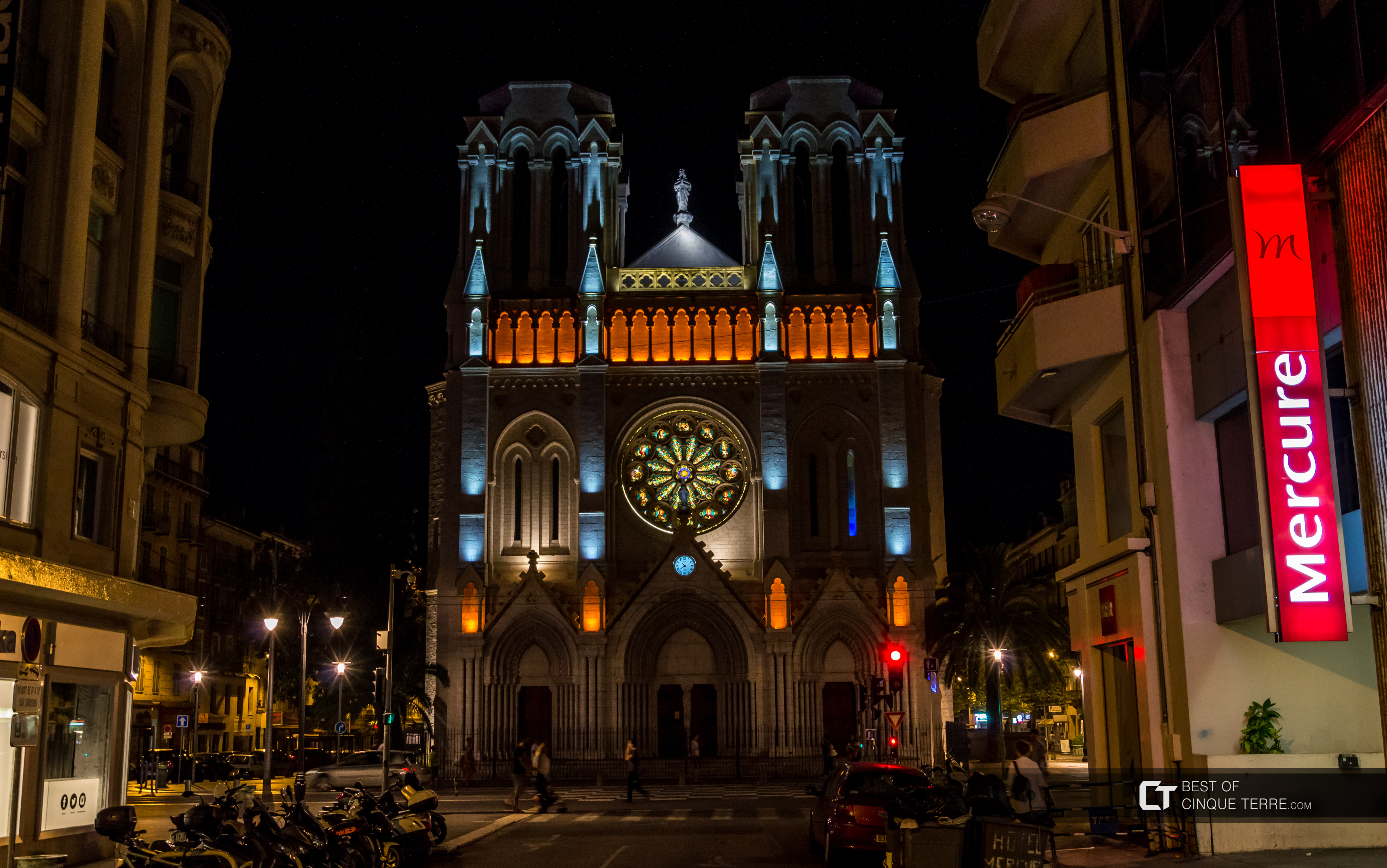 Notre-Dame of Nice by night, France