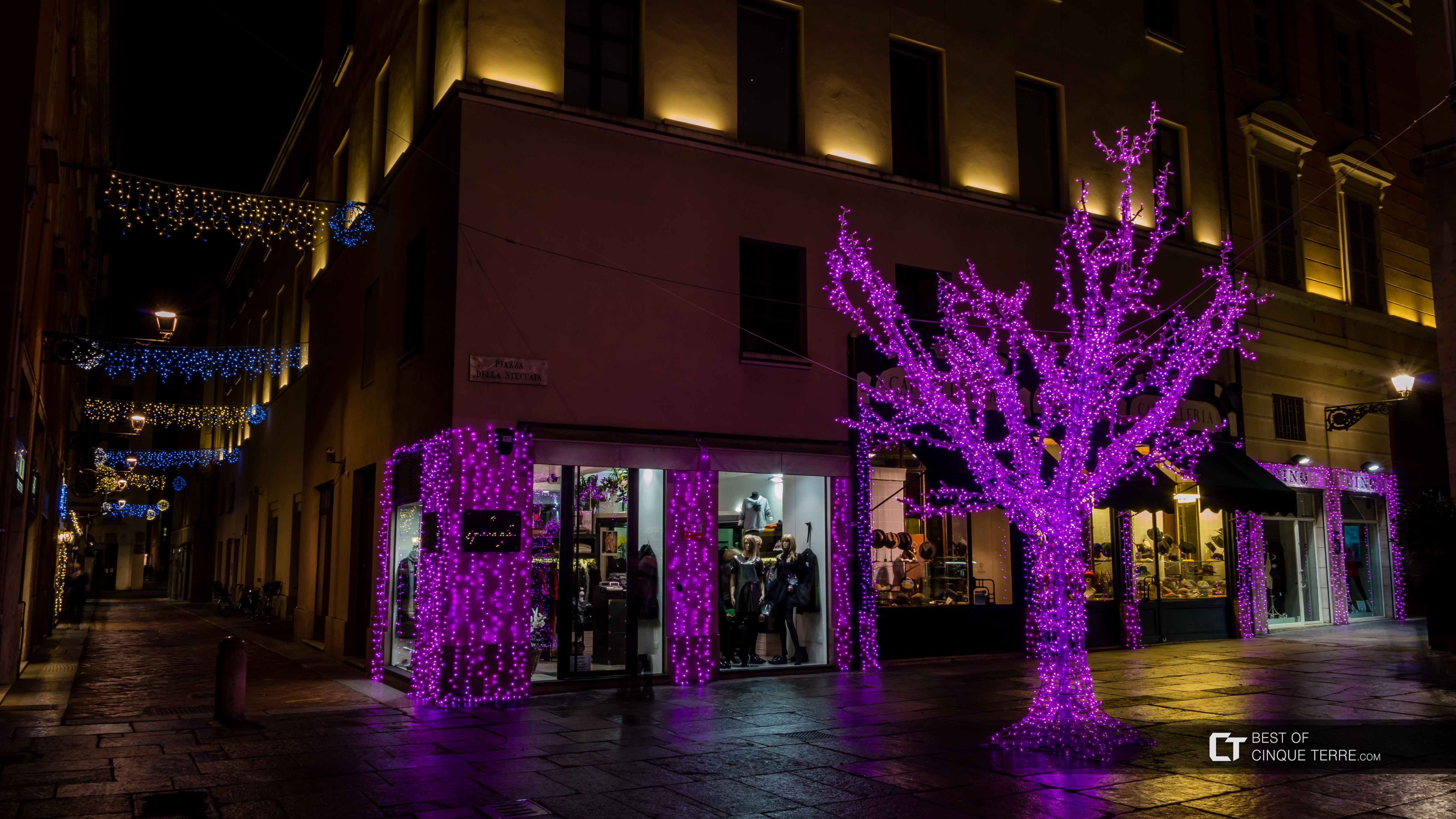 Downtown with traditional Christmas decorations, Parma, Italy