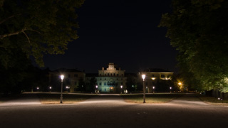 Palácio Ducal dentro do Parque Ducal à noite, Parma, Itália