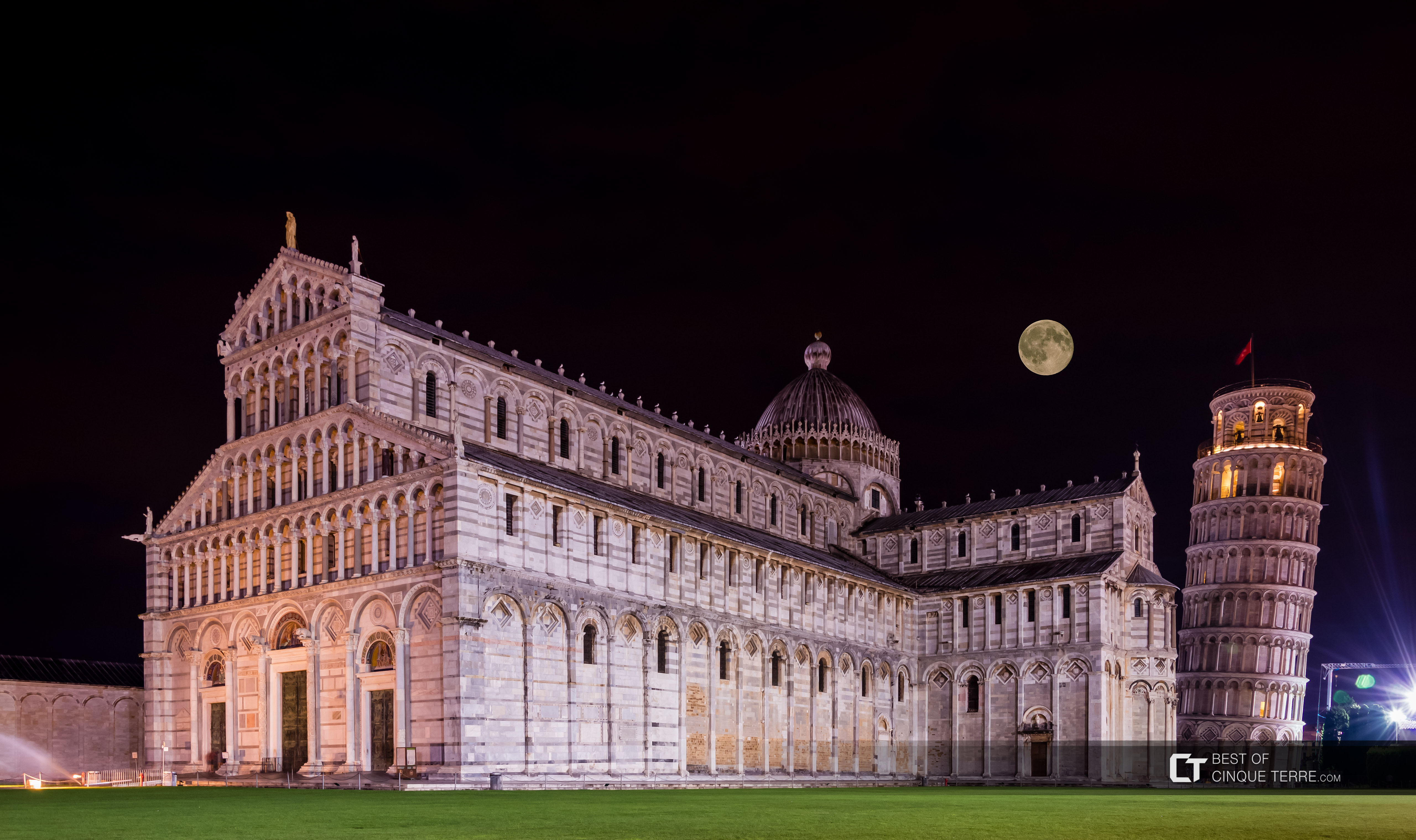 Cathedral and Leaning Tower by night, Pisa, Italy