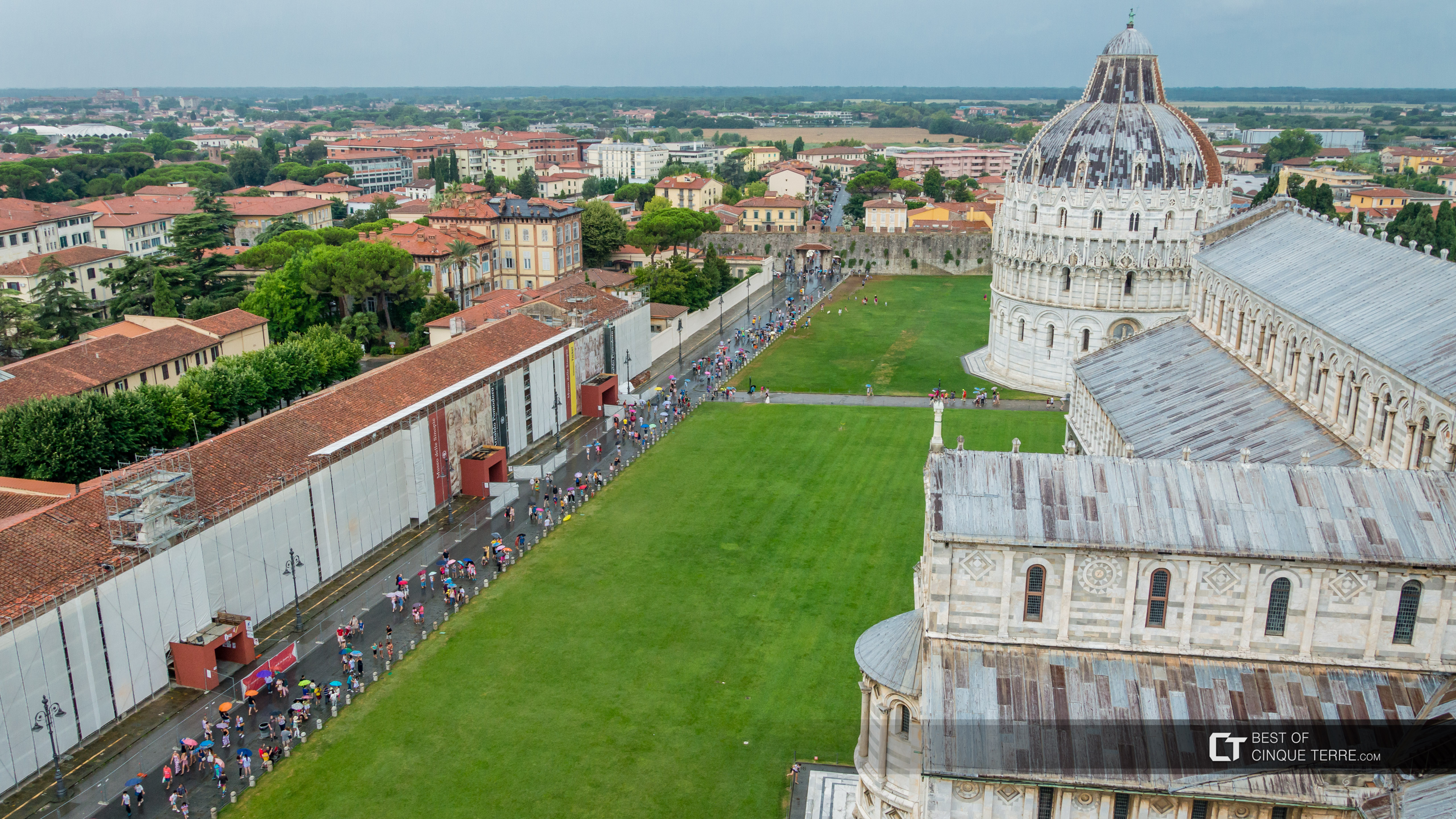Piazza dei Miracoli seen from the Leaning Tower in the rain, Pisa, Italy