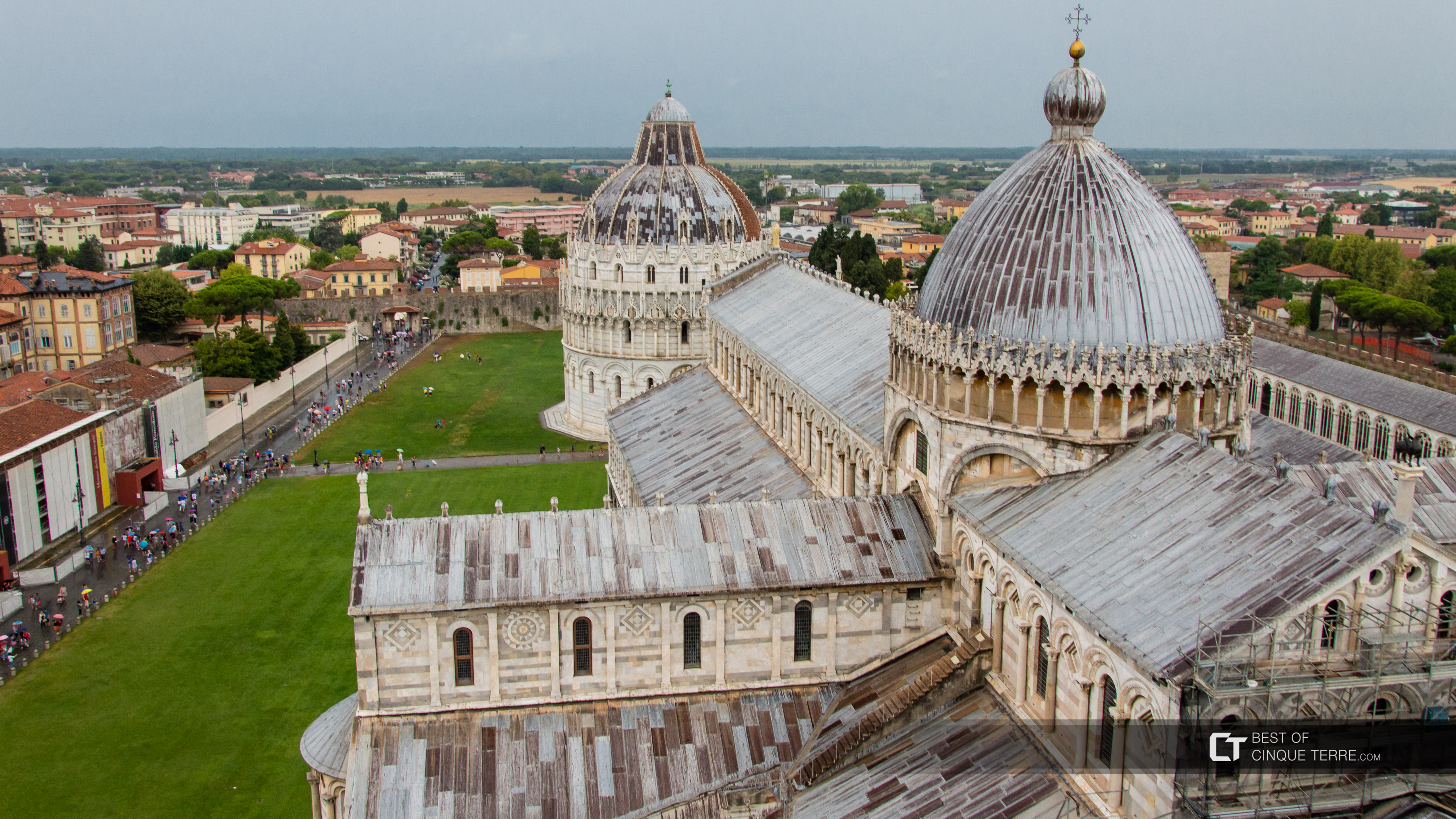 Piazza dei Miracoli seen from the Leaning Tower, Pisa, Italy