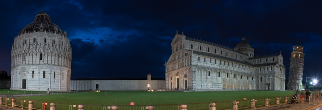 Square of Miracles (Piazza dei Miracoli), a bird's eye view by night, Pisa, Italy