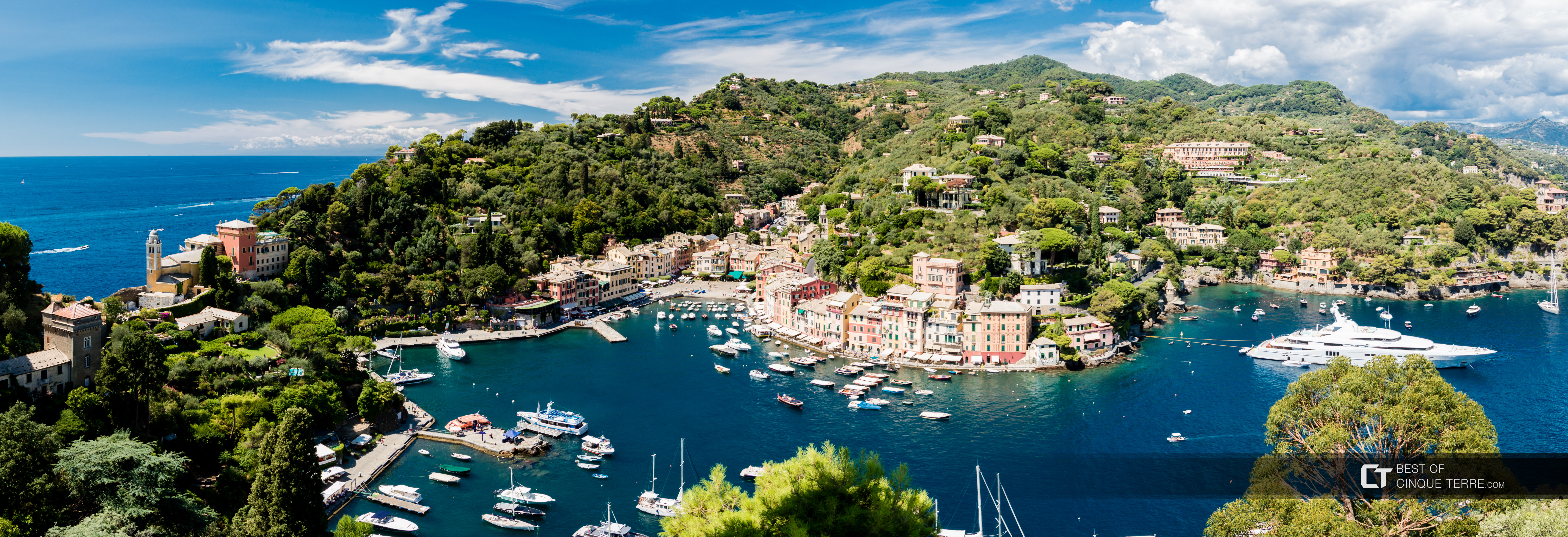 Bird's eye view of the bay, Portofino, Italy