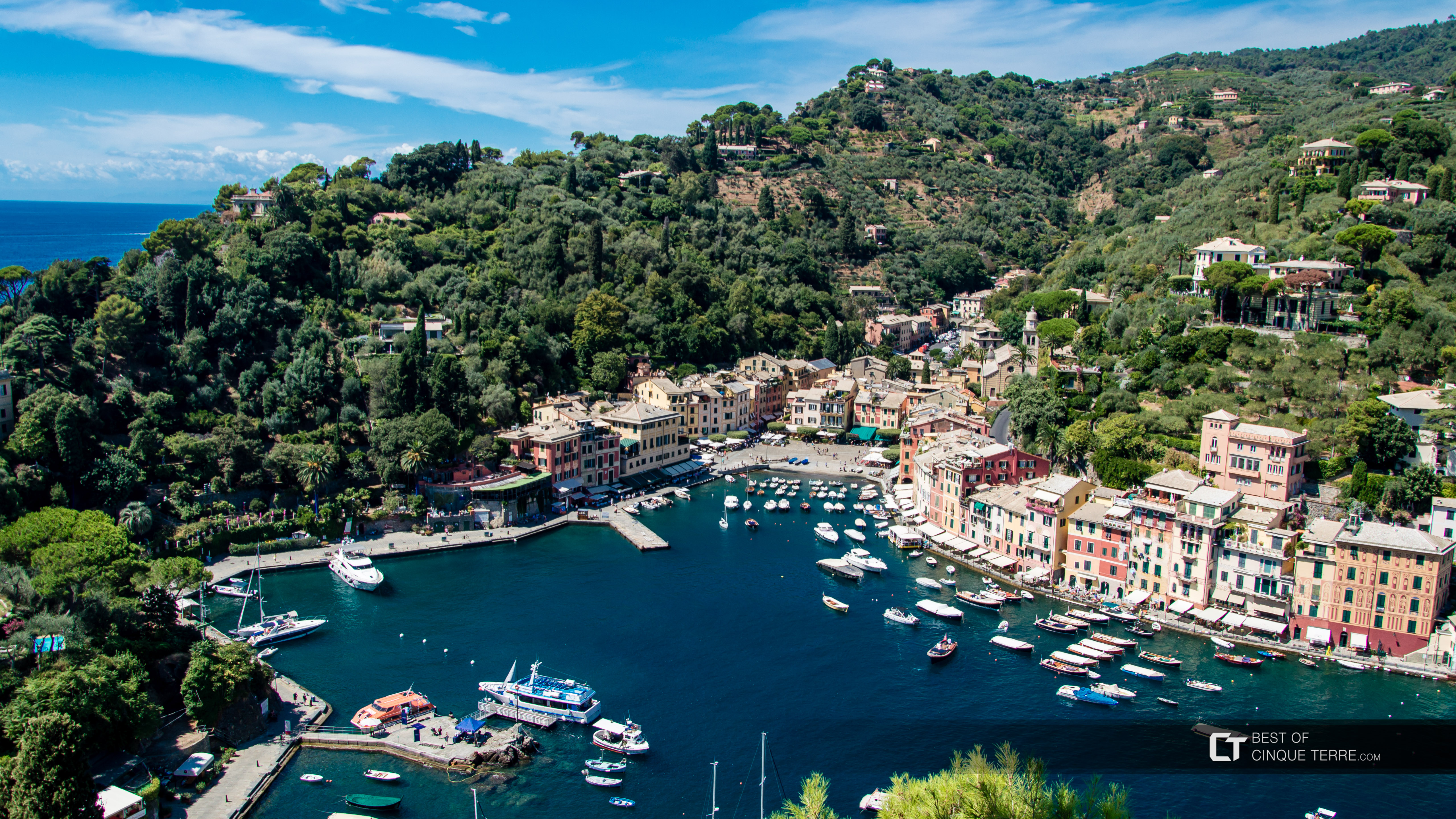 Bay seen from the Brown Castle, Portofino, Italy