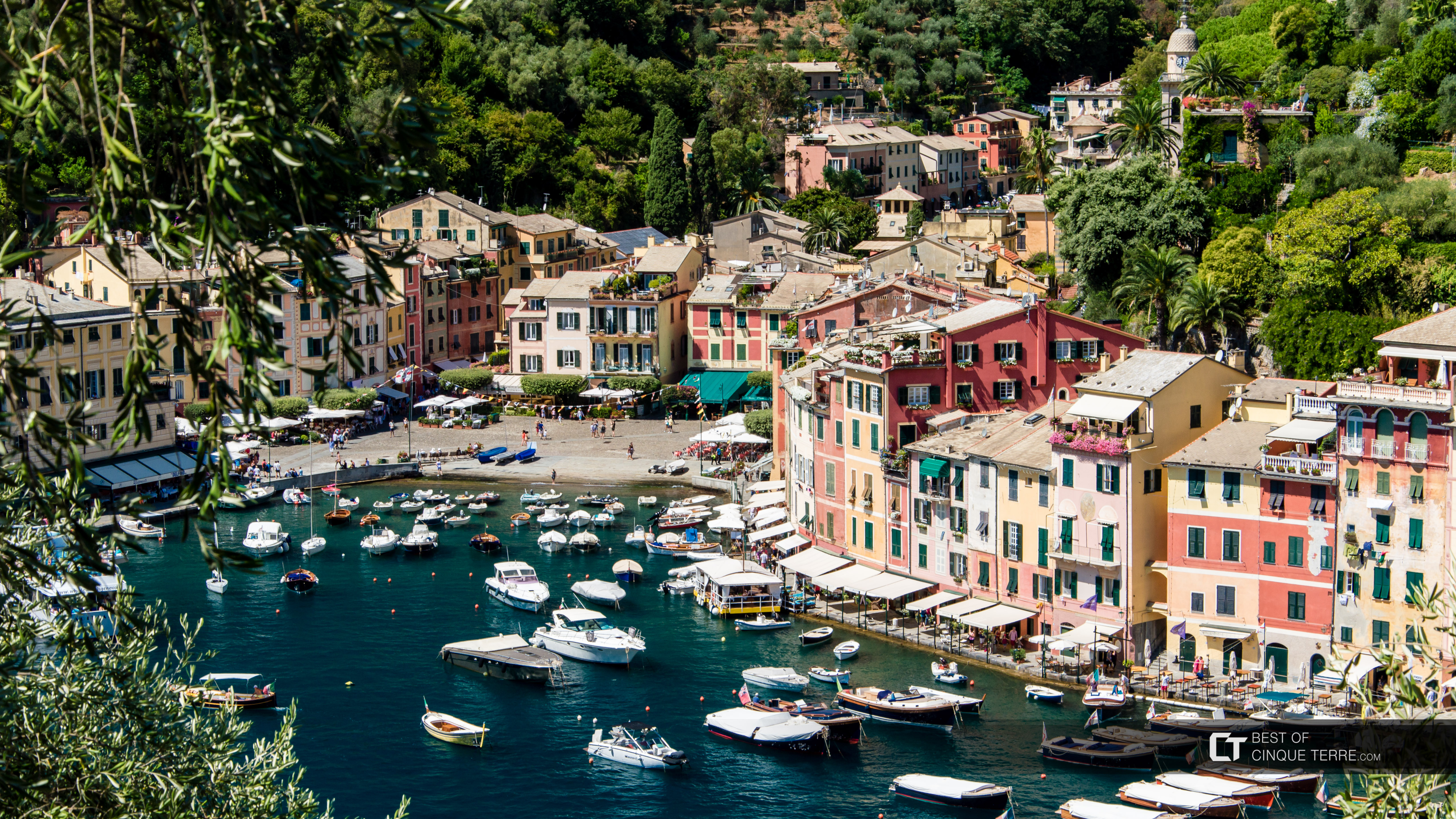 Piazza Martiri dell'Olivetta, seen from the gardens of Brown Castle, Portofino, Italy