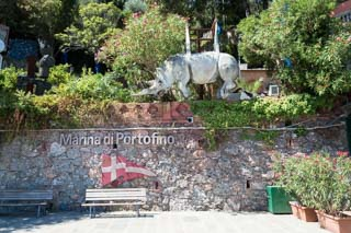 Statue of the rhinoceros, symbol of the town, Portofino, Italy