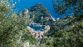 The view of the village from the trail to San Fruttuoso Abbey, Portofino, Italy
