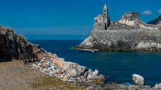 Church of San Lorenzo from the island of Palmaria, Portovenere, Italy