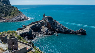 Church of San Lorenzo from the terrace of Doria Castle, Portovenere, Italy