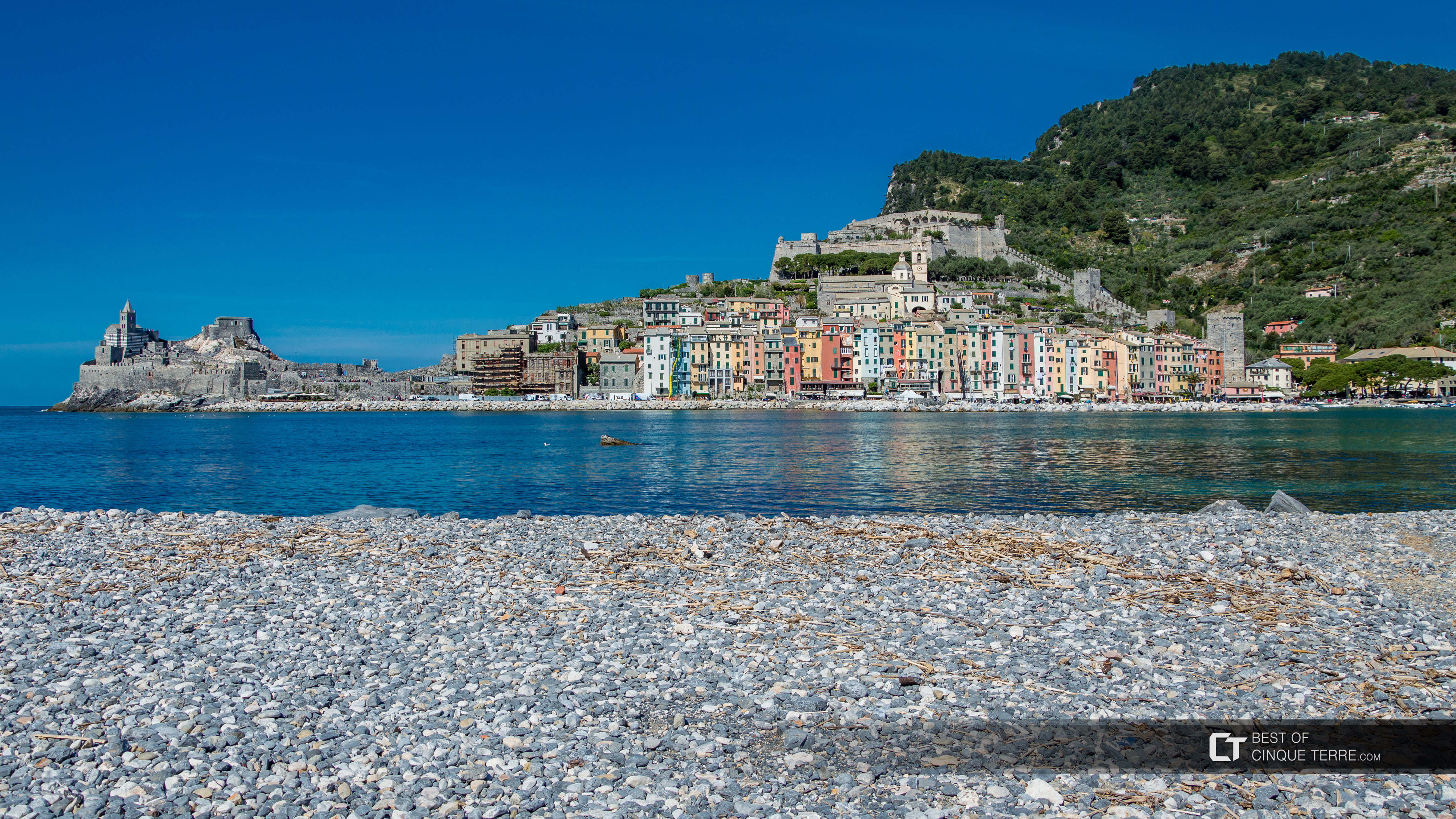 View of the village from the beach on the island of Palmaria, Portovenere, Italy