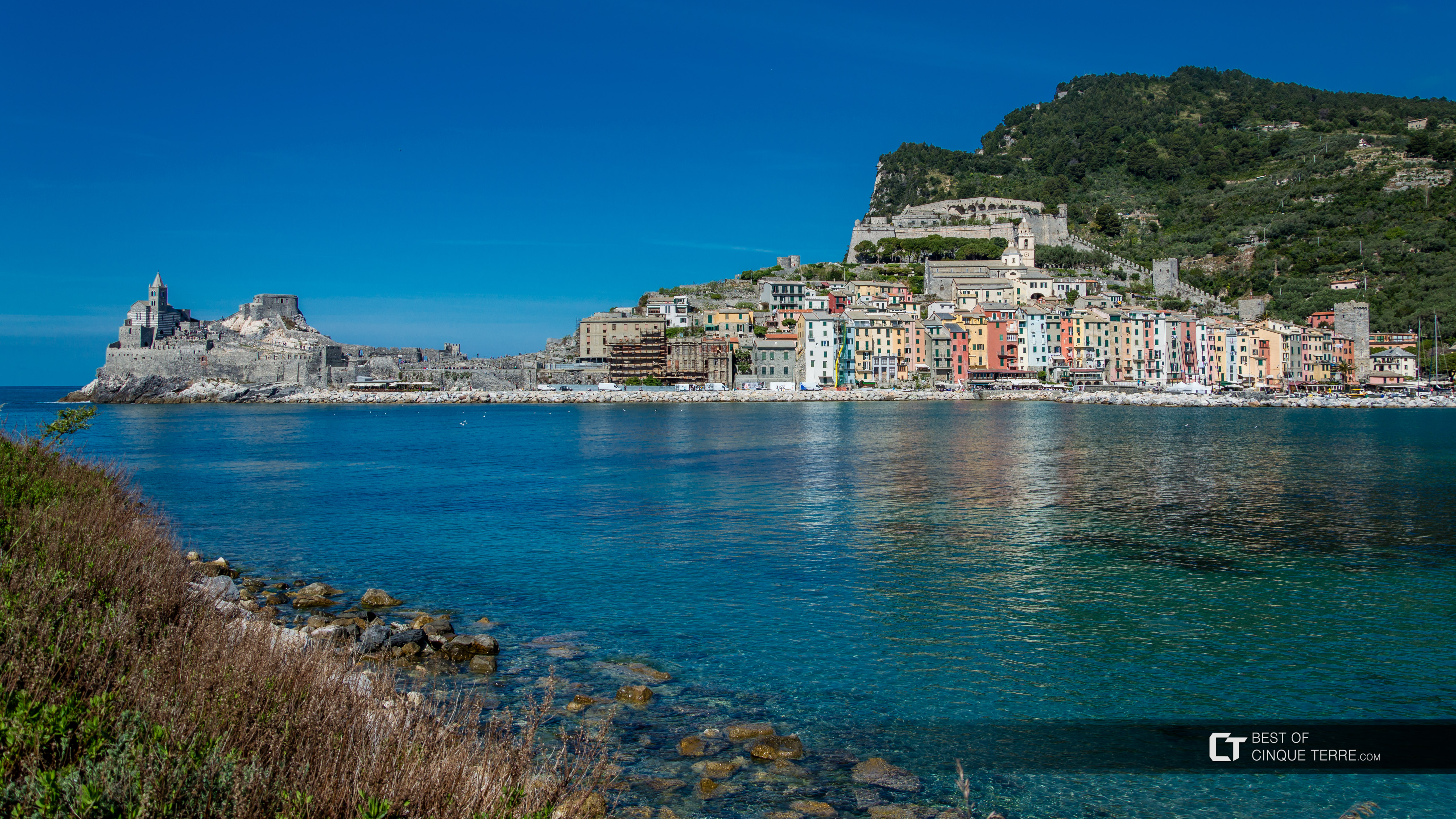 View of the village from the island of Palmaria, Portovenere, Italy