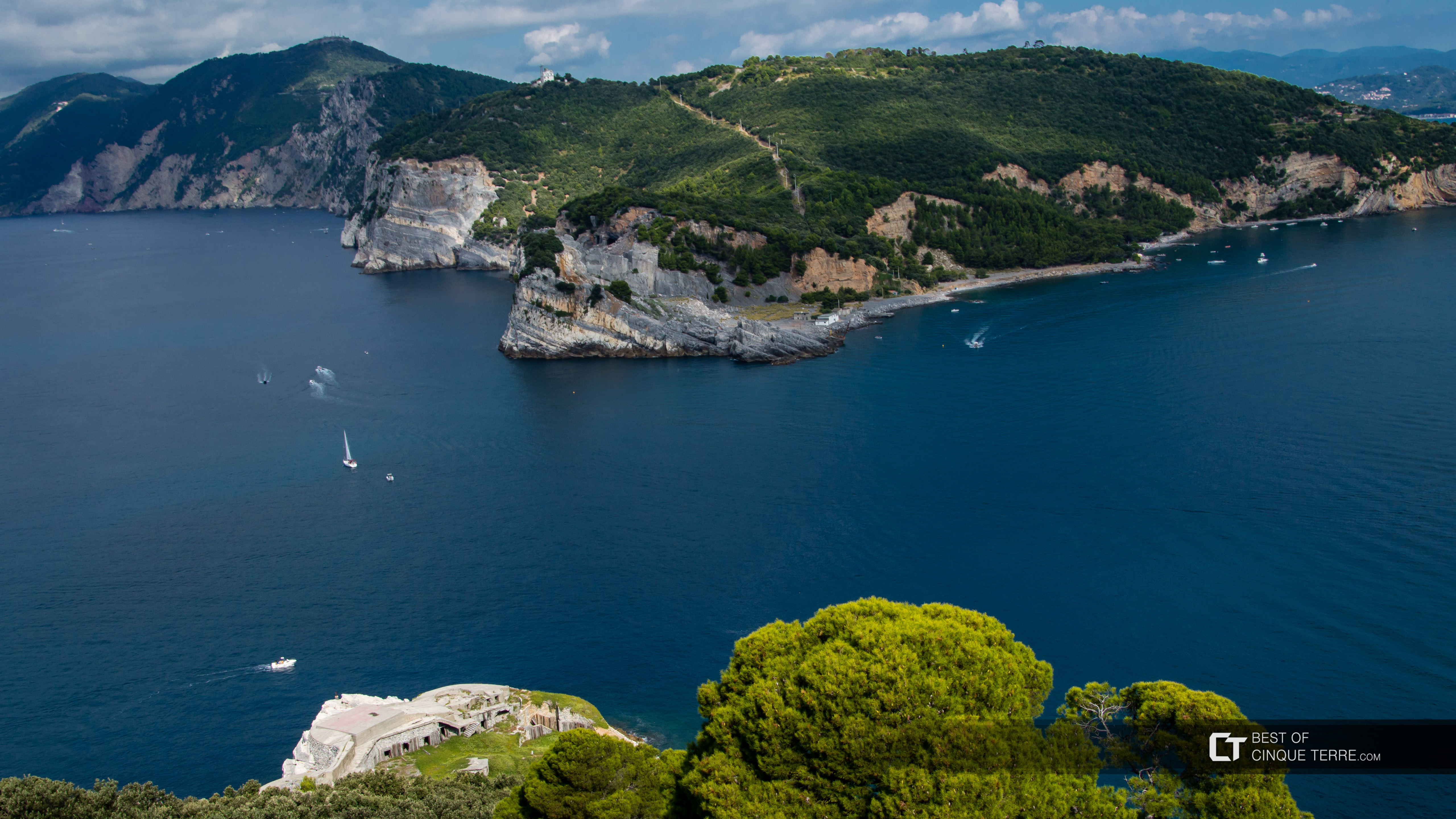 Palmaria Island from the lighthouse on the island of Tino, Portovenere, Italy